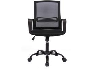 Mid Back Mesh Office Computer Chair, Swivel Desk Task Chair, Ergonomic Executive Chair with Armrests, Black
