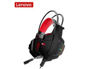 Lenovo HU85 Gaming Headset Wired Head Mounted Fashion  Colorful LED Light Headphones PC USB Interface HiFi Surround Sound HD Earphones with Mic