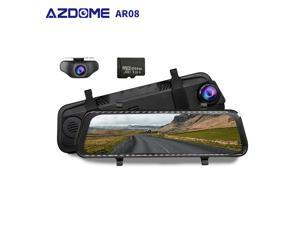 """AZDOME AR08 10"""" Mirror Dash Cam Streaming Media Full-Screen Touching ADAS Dual Lens Night Vision 1080P Front 720P Backup Car DVR with 64GB SD Card"""
