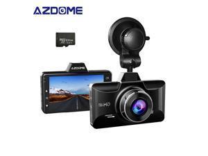 AZDOME M01 Pro Dash cam 3-Inch Car DVR 1080P HD Recorder Driver Fatigue Alert 170 View Angle G-sensor with 64GB SD Card for Uber Lyft Car Camera