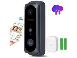 Video Doorbell WONGKUO Wireless Video Doorbell Camera HD 166°Security Smart WiFi Doorbells with Indoor Chime,2 Rechargeable Batteries,Motion Detection,Real-Time Video,Two-Way Talk,Night Vision