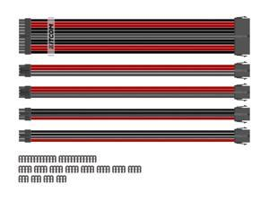 PC Build Customization Mod Sleeve Extension ATX Power Supply Braided Cable Kit/Set 18AWG ATX/ Extra-Sleeved 24-PIN / 8-Pin PCI-E (6+2) / 8-Pin EPS (4+4) with Combs, Black/Red/Grey Mixture