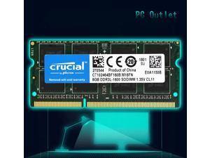 crucial Laptop Ram 8GB x1 DDR3-1600 CT102464BF160B.M16FN SODIMM Memory 204pin 1.35V
