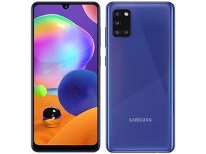 """Samsung Galaxy A31- A315G/DS, 128GB + 6GB, 6.4"""" FHD+, Quad Camera, 5000mAh Battery, Dual SIM GSM Unlocked US + Global 4G LTE International Model - No Warranty - Prism Crush Blue"""