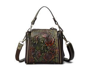 Brenice Women Retro Genuine Leather Bucket Handbag Hand Embossed Craft Flower Crossbody Bag - Green (green)