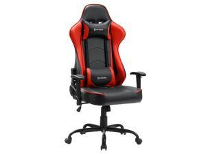 VON RACER PU Leather Gaming/Racing Style Ergonomic High Back Chair with Removable Neck Rest and Adjustable Back Cushion  (Red)