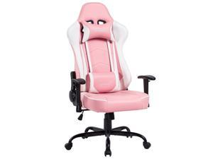 VON RACER PU Leather Gaming/Racing Style Ergonomic High Back Chair with Removable Neck Rest and Adjustable Back Cushion (Pink)