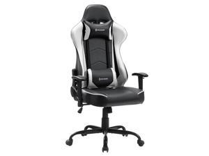 VON RACER PU Leather Gaming/Racing Style Ergonomic High Back Chair with Removable Neck Rest and Adjustable Back Cushion (White)