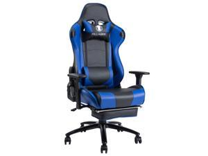 KILLABEE Big and Tall 350lb Massage Gaming Chair Metal Base - Adjustable Massage Lumbar Cushion, Retractable Footrest High Back Ergonomic Leather Racing Computer Desk Executive Office Chair(Blue)