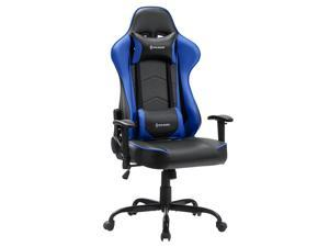 VON RACER PU Leather Gaming/Racing Style Ergonomic High Back Chair with Removable Neck Rest and Adjustable Back Cushion (Blue)
