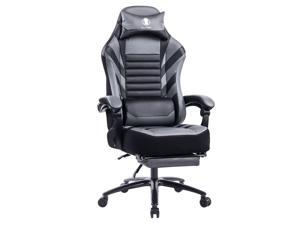 Killabee Big and Tall Massage Memory Foam Gaming Chair - Adjustable Tilt, Back Angle and Flip-Up Arms, High-Back Leather Racing Executive Computer Desk Office Chair, Metal Base