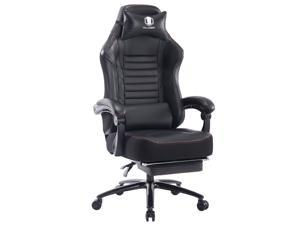 Killabee Big and Tall 350lb Massage Memory Foam Gaming Chair - Adjustable Tilt, Back Angle and Flip-Up Arms,High-Back Leather Racing Executive Computer Desk Office Chair, Metal Base