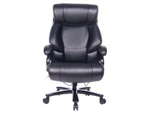 VANBOW  Big and Tall 400lb Executive Office Chair High Back Leather Heavy Duty Desk Computer Task Swivel Chairs with Adjustable Tilt Angle, Thick Padding and Ergonomic Design Lumbar Support, Brown
