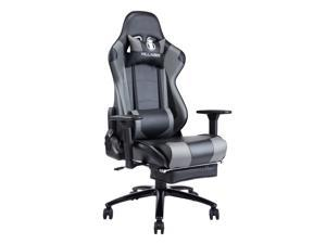 KILLABEE Big and Tall 350lb Massage Gaming Chair Metal Base - Adjustable Massage Lumbar Cushion, Retractable Footrest High Back Ergonomic Leather Racing Computer Desk Executive Office Chair(Grey)