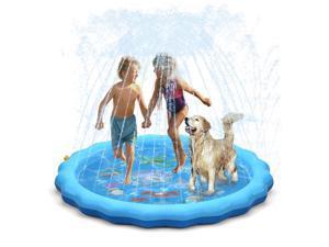 "Splash Pad Sprinkler for Kids Toddlers 67"" Splash Water Pad,Outdoor Swimming Pool Splash Play Mat Water Toys for Children for Fun Games Learning (Blue)"