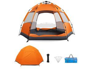 Automatic Tent (3-5 persons),  Waterproof and UV Protection, Camping Tent with Carrying Bag and Double-layer Double-door 6-corner