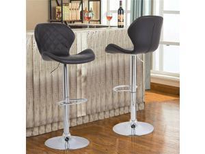 Set of 2 Bar Stools PU Leather Modern Hydraulic Adjustable Swivel Dinning Chairs,Heavy Duty Counter Height Bar Stool Swivel Bar Dining Chair Backrest Footrest