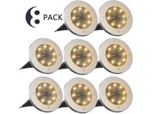 Solar Ground Lights,Disk Lights Solar Powered 8 LED ,Outdoor in-ground Lights for Landscape Walkway Lawn Steps Decks, LED lamp, Waterproof(Warm White)