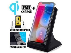 10W Qi Wireless Fast Charger Charging Stand Dock W/ Cooling Fan For Mobile Phone -