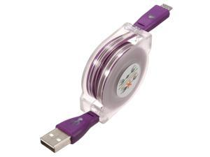 2Pcs 1M Visible Retractable LED Light Micro USB 2.0 Data Sync Charger Cable For Phone Purple -