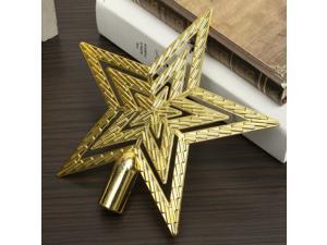 Plastic Golden Stereoscopic Pentagram Xmas Christmas Tree Topstar Decorations 20cm - 20cm