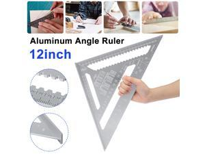 300mm 12inch Aluminum Alloy Measuring Right Angle Triangle Ruler Woodworking Tool Aluminum Alloy Ruler Mitre - Silver