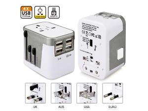 All in One Universal International Plug Adapter 4USB Ports World Travel AC Power Charger US UK AU EU - Silver (silver)