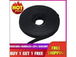 ?Buy 1 Get 1 Free?2 PCS Black Nylon Cable Manager Winder Cable Clip Ties Belting Velcro Strap Velcro 12mm*10m -