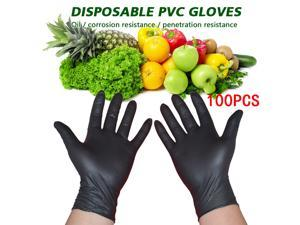 100Pcs Disposable PVC Gloves High Quality Gloves Disposable Latex Gloves Catering Housework Protective Gloves - Black