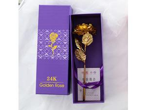 24k Gold Plated Rose Flower Anniversary Girlfriend Wife Romantic Gift + Free Box - Gold (gold)