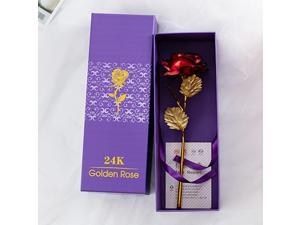 24k Gold Plated Rose Flower Anniversary Girlfriend Wife Romantic Gift + Free Box - Red (red)