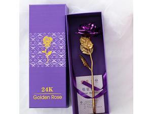 24k Gold Plated Rose Flower Anniversary Girlfriend Wife Romantic Gift + Free Box - Purple