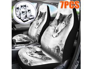 7PCS 3D Print Front Car Seat Cover Universal Car Seat Protector Washable - Wolf