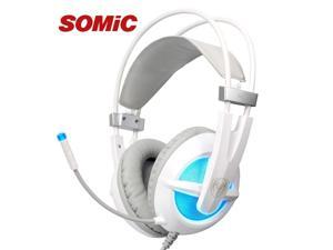 Somic G938 suspended computer headphones, USB 7.1 Gaming Headset stereo sound headphones, noise-canceling microphone - White