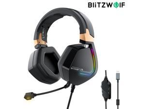 BlitzWolf BW-GH2 Gaming Headphone 7.1 Channel 53mm Driver USB Wired RGB Gamer Headset with Mic for Computer PC PS3/4 - 7.1 channel + USB - Black