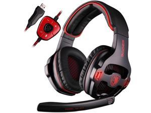 Sades SA-903 Gaming Headset 7.1 Surround Sound Channel USB Wired Headphone with Mic Volume Control - Black - Black