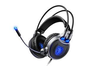 SADES R1 Virtual 7.1 Surround Sound Vibration Gaming Over Ear Headset Headphone - Blue - Blue