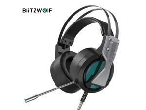 BlitzWolf BW-GH1 Gaming Headphone 7.1 Surround Sound Bass RGB Game Headset with Mic for Computer PC PS4 XBOX Gamer - Silver - Silver