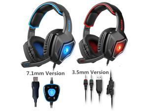 SADES Spirit Wolf Gaming Headset with Microphone Headphone USB LED Razer MSN - Black blue 7.1 channel