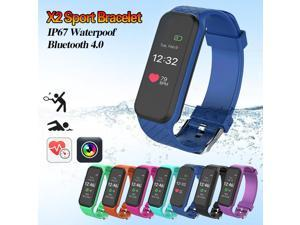 X2 Smart Bluetooth Wristband Waterproof Heart Rate Monitor Fitness Tracker Smart Watch Bracelet For Android IOS Phone Sport - Blue (blue)