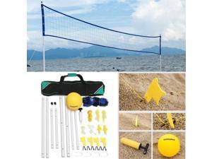 Pro Beach Volleyball Net System Portable Adjustable Posts Ball Hand Pump Set Kit -