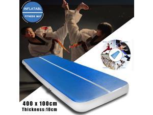 4M Inflatable Gym Mat Air Tumbling Track Gymnastics Cheerleading Taekwondo Pad Blue -
