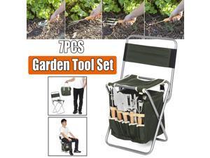 7pcs Garden Plant Stainless Steel Trowel Digging Tools Set Folding Bag & Stool -