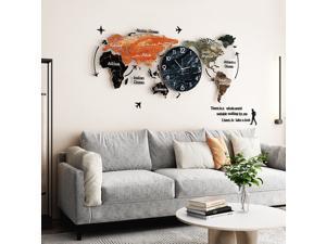 Creative World Map Wall Clock Acrylic Home Fashion Nordic Clocks Bedroom Living Room Light Wall Decoration - Type C