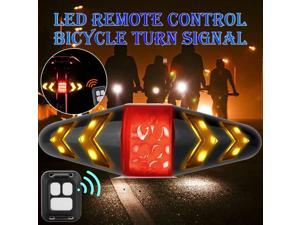 LED Bicycle Rear Turn Signal Tail Light USB Charging Wireless Remote Control -