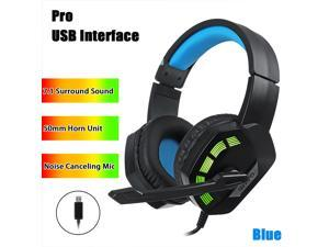 7.1 / 5.1 Surround Sound Stereo Gaming Headsets RGB LED USB 3.5mm Gamer Headphones Surround Sound Stereo Wired Earphones USB Microphone Colourful Light PC Laptop Game Headset - Blue-7.1 Surround