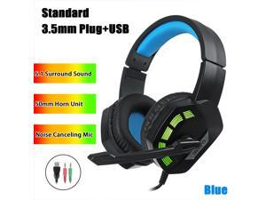 7.1 / 5.1 Surround Sound Stereo Gaming Headsets RGB LED USB 3.5mm Gamer Headphones Surround Sound Stereo Wired Earphones USB Microphone Colourful Light PC Laptop Game Headset - Blue-5.1 Surround