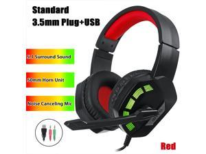 7.1 / 5.1 Surround Sound Stereo Gaming Headsets RGB LED USB 3.5mm Gamer Headphones Surround Sound Stereo Wired Earphones USB Microphone Colourful Light PC Laptop Game Headset - Red-5.1 Surround