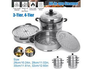Stainless Steel All-in-one Steamer Meat Vegetable Cook Steam Pot Kitchen Tool - 28-4-Tier