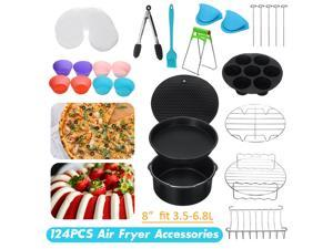 ?124pcs?(For 3.5L-6.8L Air Fryers) All-in-one 8inch Air Fryer Accessories Rack Cake Pizza Oven Barbecue Frying Pan Tray Frying Cage Dish Baking Pan Rack Pizza Tray Pot Tool -
